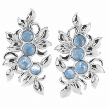 Ladies Shipton and Co Silver and Round Moonstones Leaf Design Drop Earrings EQA338MS
