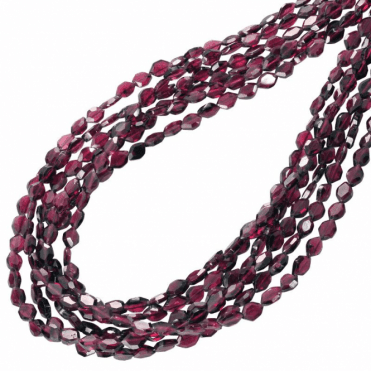 Ladies Shipton and Co Exclusive Silver and 6 Strands of Facated Rhodolite Garnet Shapes Beads 28 Inches Long BSS053RH