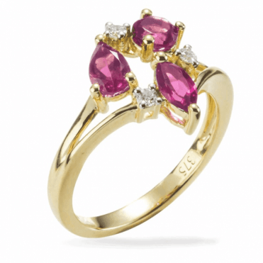 Ladies Shipton and Co Exclusive 9ct Yellow Gold and Multiple Shapes Pink Tourmaline and Diamond Ring RYD110RTD