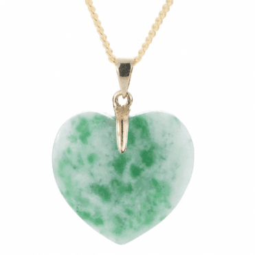 Ladies Shipton and Co Exclusive 9ct Yellow Gold and White and Green Jadeite Pendant including a 16 9ct Chain S07668GJ