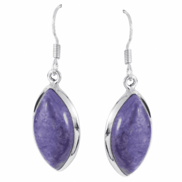 Ladies Shipton and Co Silver and Marquise Charoite Drop Earrings  TMV043CX