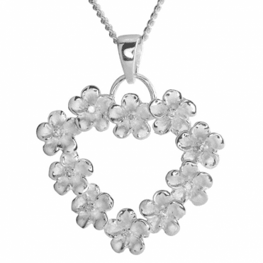 Ladies Shipton and Co Silver and Cubic Zirconia in Frosted Flowers Heartshaped Pendant including a 16 Silver Chain TPE001CZ