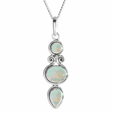 Ladies Shipton and Co Silver and Three Opals Etruscan Style Pendant including a 16 Silver Chain TJP002OP