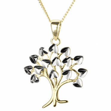 Tree of Life Pendant with Tiny Hearts of White Gold