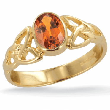 Ladies Shipton and Co 9ct Yellow Gold and 7x5mm Oval Hessonite Garnet Celtic Ring RY1769HG