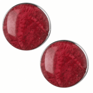 Ladies Shipton and Co Silver and 10mm Round Flush Set Coral Stud Earrings TSS143CL