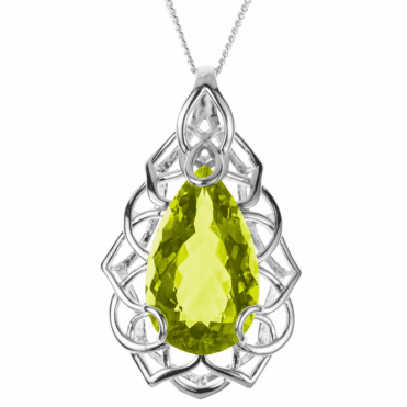 Ladies Shipton and Co Exclusive Silver and 30x18mm Pearshape Green Quartz Pendant including a Chain PQA351GQ