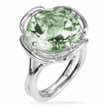 Ladies Shipton and Co Silver and Green Amethyst  Ring RQA342GM