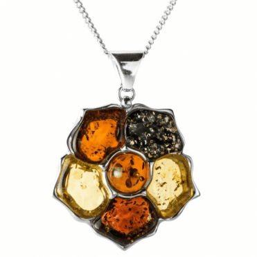 "Ladies Shipton and Co  Silver and Multi Colour Amber Rose Design Pendant including a 16"" Silver Chain  TSS137AB"