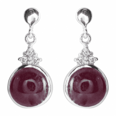 Ladies Shipton and Co Silver and 10mm Round Ruby Cabochon with Three White Topaz Drop Earrings TKW509RUWT