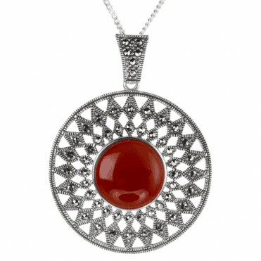 Red Agate & Marcasite Sun God Pendant