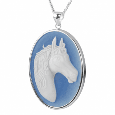 Ladies Shipton and Co Silver Blue and White Agate Horse Cameo Pendant including a Chain TSS152BA