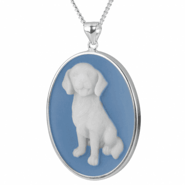 Ladies Shipton and Co Silver Blue and White Agate Dog Cameo Pendant including a Chain TSS154BA