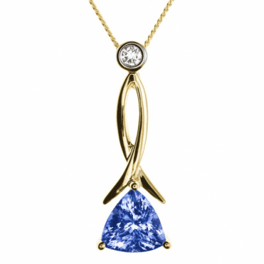 Ladies Shipton and Co 9ct Yellow Gold and 7mm Trilliant Tanzanite and 0.06ct Diamond Pendant including a Chain PYD112TZD