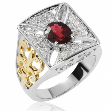 Ladies Shipton and Co Exclusive 9ct White Gold and Red Spinel and 0.31cts Diamonds Ring RWD115SLD