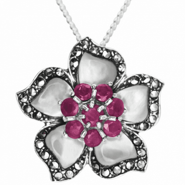 """Ladies Shipton and Co Silver and Ruby Pendant including a 16"""" Silver Chain TLT002RUPM"""