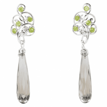 Ladies Shipton and Co Exclusive Silver and Faceted Smokey Quartz Briolettes with Peridot Top Drop Earrings EQA377SQPE