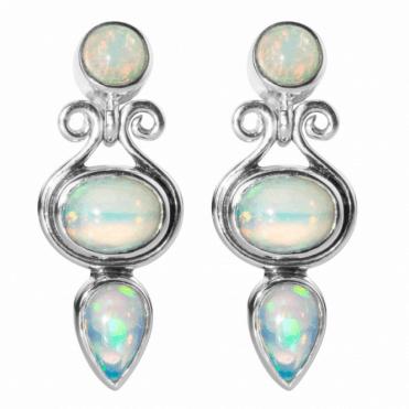 Earrings in Iridescent Abyssinian Opal