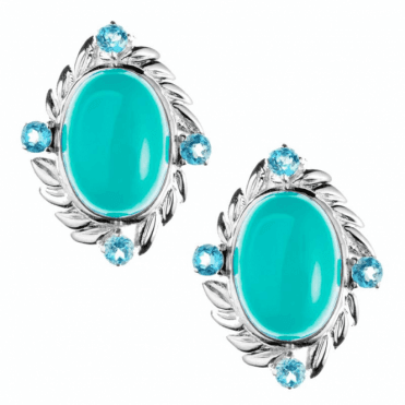 Ladies Shipton and Co Silver 14x10mm Oval Turquoise with Blue Topaz Clip Fitting Earrings for Unpierced Ears EQA350TQBT=C