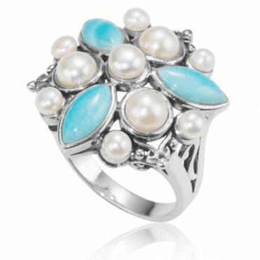 Caribbean Larimar & Pearl Ring
