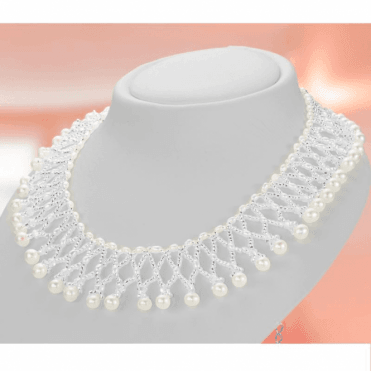 Ladies Shipton and Co Woven Freshwater Pearls and Silver Beads Collar Necklace 17 Inches Long with a 2 Inch Extender Chain TEN021FP