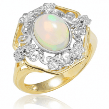 Ladies Shipton and Co Exclusive 9ct Yellow Gold and 9x7mm Oval Opal Ring with White Gold Grapes Motif RYG045OP