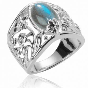 Ladies Shipton and Co Silver and 12x8mm Oval Labradorite and Flowers Ring RQA380LB