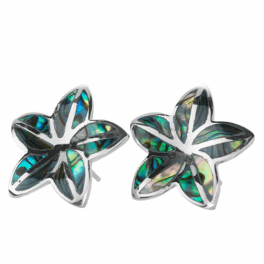Ladies Shipton and Co Silver and Paua Shell Flower Stud Earrings TDA078PA