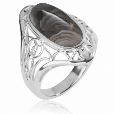 Ladies Shipton and Co Silver and 18x9mm Oval Botswana Agate Ring RQA375BW