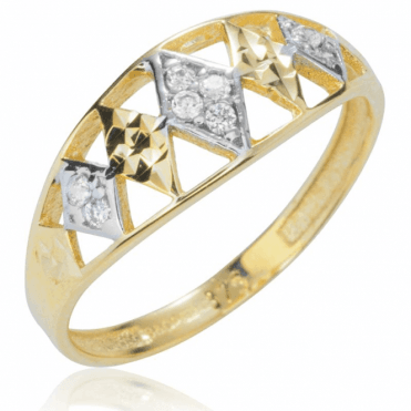 Ladies Shipton and Co 9ct Yellow Gold and Cubic Zirconia Diamond Shapes Ring TEM020CZ