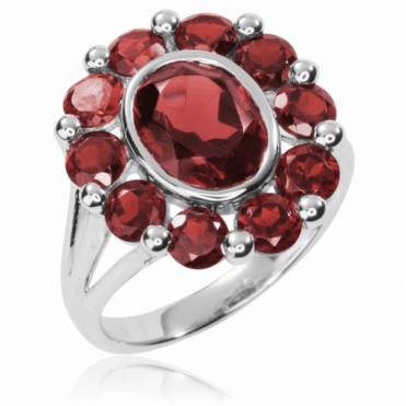 Ladies Shipton and Co Silver 1x8mm Oval and Ten Rounds Garnet Cluster Ring RQA371GR