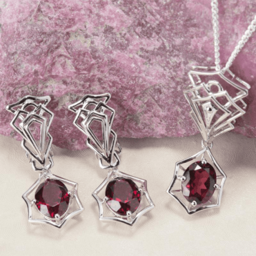 Ladies Shipton and Co Silver and Garnet  EQA374GR=C