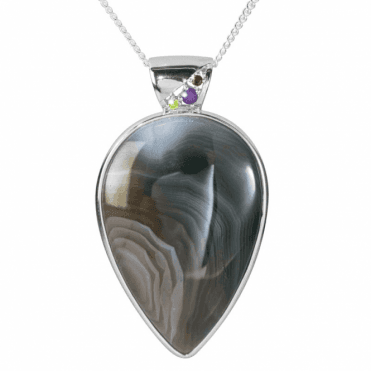 Ladies Shipton and Co Silver and Pearshaped Botswana Agate and Multi Stones Pendant including a 16 Silver Chain TTL247BWMU