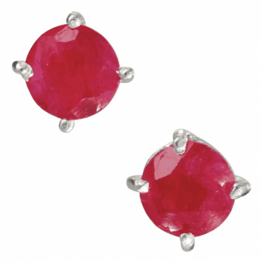 Ladies Shipton and Co Silver and 4mm Round Ruby Claw Set Stud Earrings TMV031RU