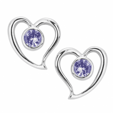 Ladies Shipton and Co Silver and 4mm Round Tanzanites in Heart Stud Earrings  EQA324TZ