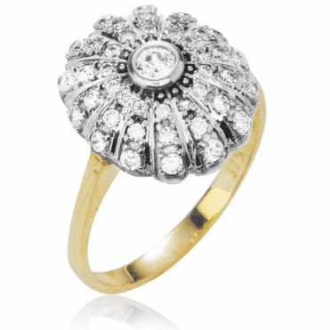 Ladies Shipton and Co 9ct Yellow Gold and Cubic Zirconia Domed Pave Cluster Ring TEM019CZ