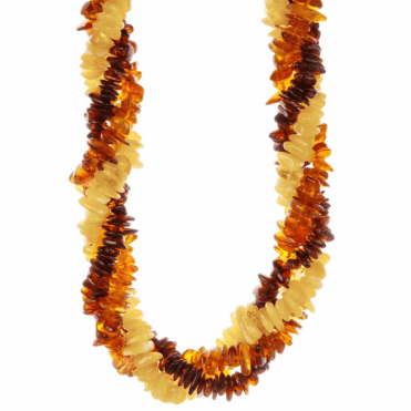 Ladies Shipton and Co  Silver and Twisted Multi Coloured Amber Chips Beads 20 Inches Long BKC017AB