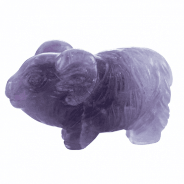 Shipton and Co One and a Half Inch Amethyst Sheep Carving CMH013AM