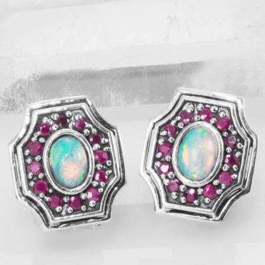 Ladies Shipton and Co Silver Opal and Ruby Octagonal Shape Clip Fitting Earrings for Unpierced Ears EQA392OPRU=C