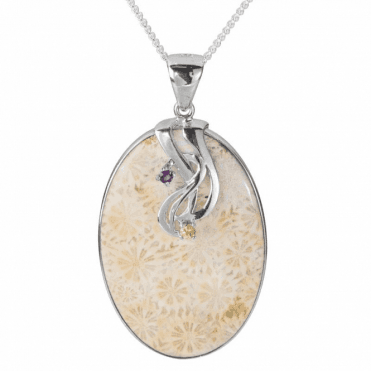 Ladies Shipton and Co Silver and Fossilised Coral and Multi Stones Pendant including a 16 Silver Chain TTL248FIMU