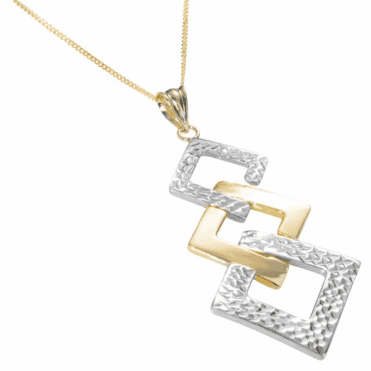 Ladies Shipton and Co 9ct Yellow and White Gold Graduated Squares Pendant including a 16 9ct Chain TEM036NS