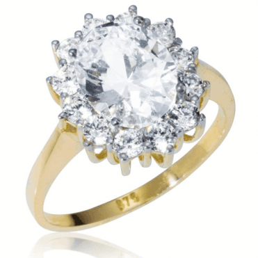 Ladies Shipton and Co 9ct Yellow Gold and Oval Cubic Zirconia Cluster Ring TEM026CZ