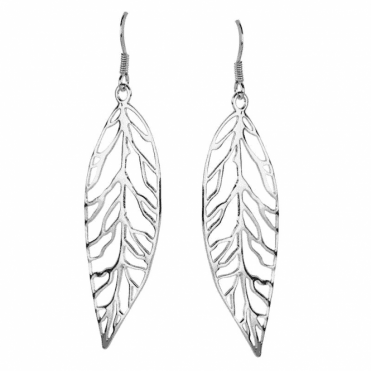 Ladies Shipton and Co Silver Large Utout Leaf Drop Earrings TDA058NS