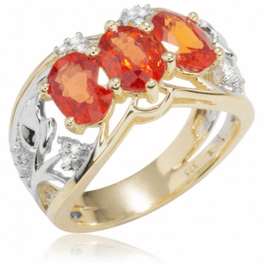 Ladies Shipton and Co Exclusive 9ct Yellow Gold and Three 7x5mm Oval Orange Sapphires and 0.11cts Diamonds Ring RYD117OSD