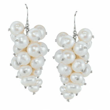Ladies Shipton and Co Silver and Freshwater Pearl Bunch of Grapes Drop Earrings TFE039FP