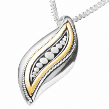 Ladies Shipton and Co Exclusive Silver and Bubbles and Gold Inlay Pendant including a 16 Silver Chain TSS164NS