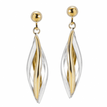 Ladies Shipton and Co 9ct Yellow and White Gold Three Dimensional Lantern Shaped Drop Earrings TAR575NS