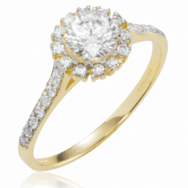 Ladies Shipton and Co 9ct Yellow Gold and Cubic Zirconia Cluster Ring with Stone Set Shouldders TEM021CZ