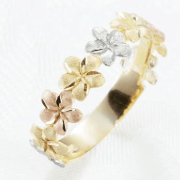 Ladies Shipton and Co 9ct Three Colour Gold Gold Flowers Band Ring TAR574NS