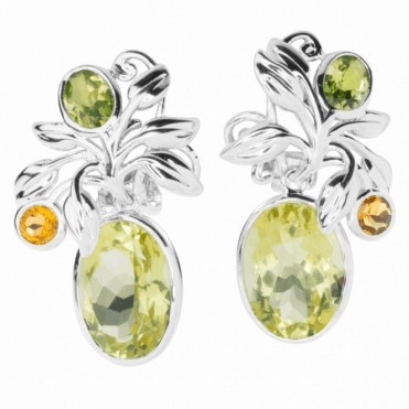 Ladies Shipton and Co Silver Lemon Quartz with Peridot and Citrine Clip Fitting Drop Earrings for Unpierced Ears EQA399MU4=C